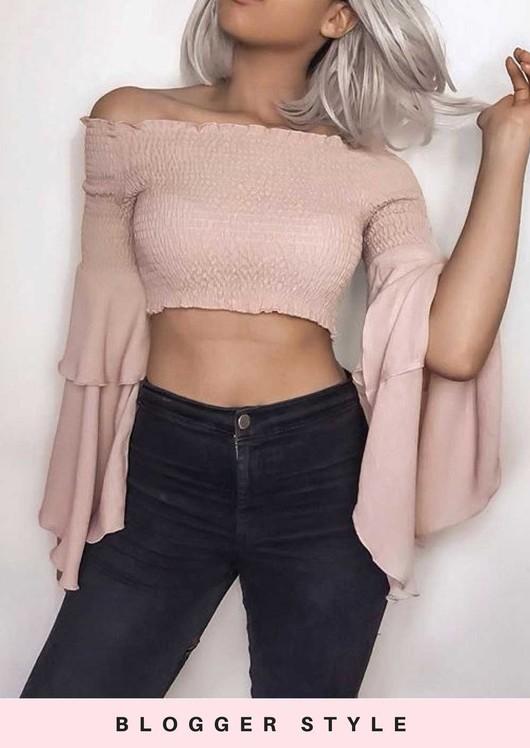 07d2b1dab37 Tiered Frill Sleeve Bardot Crop Top Nude Pink