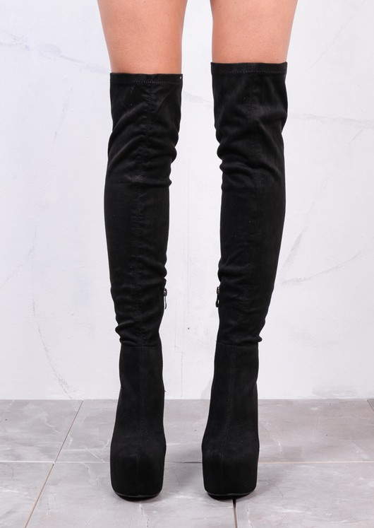Knee High Chunky Block Heel Platform Faux Suede Long Boots Black