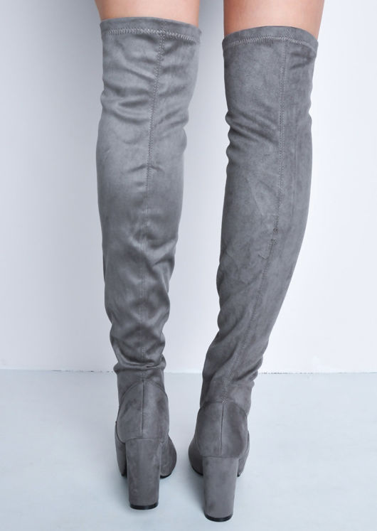 Knee High Faux Suede Front Metal Zip Long Boots Grey