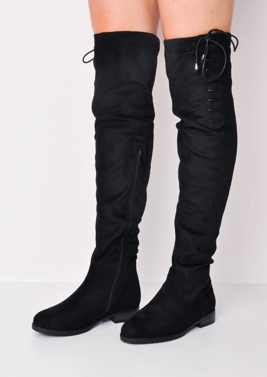 Over the Knee High Faux Flat Suede Boots Black