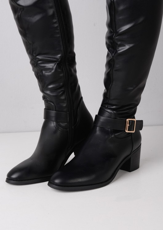 Knee High Multi Buckle Riding Boots Black