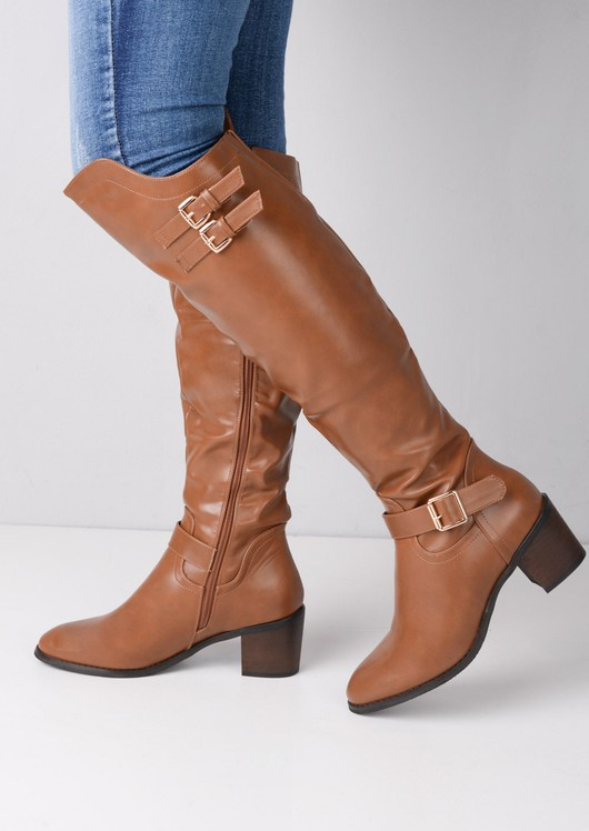 Knee High Multi Buckle Riding Boots Brown
