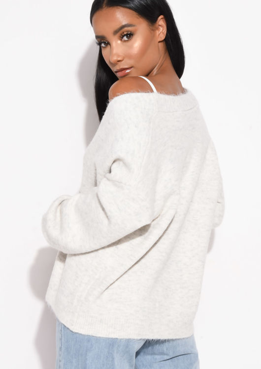 Knit Button Front Relaxed Fit Cardigan Cream