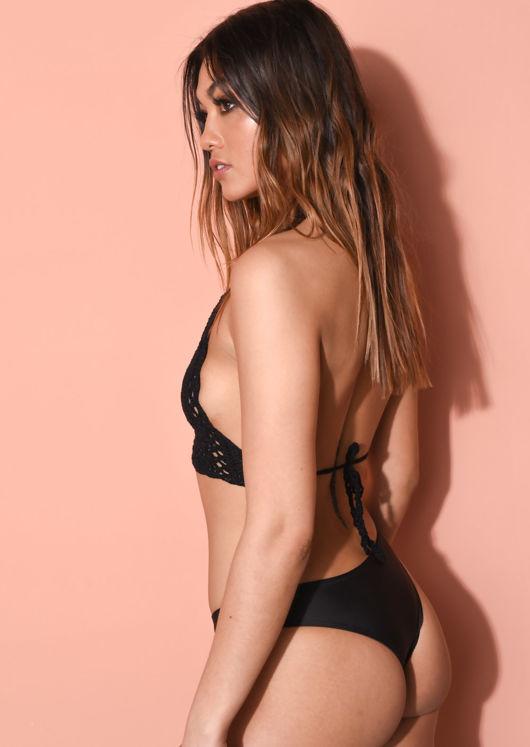 Knit Crochet Halterneck Bikini Top Black