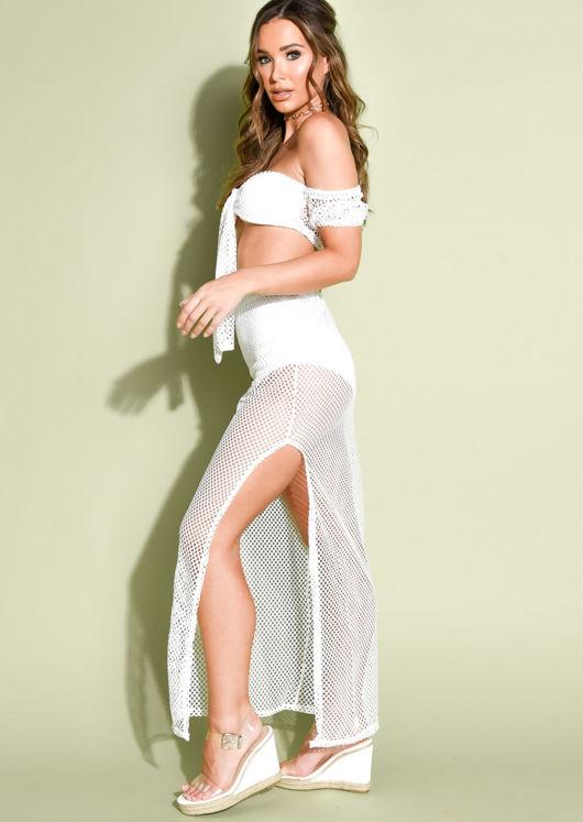 Knit Mesh Top And Maxi Split Skirt Co Ord Set White