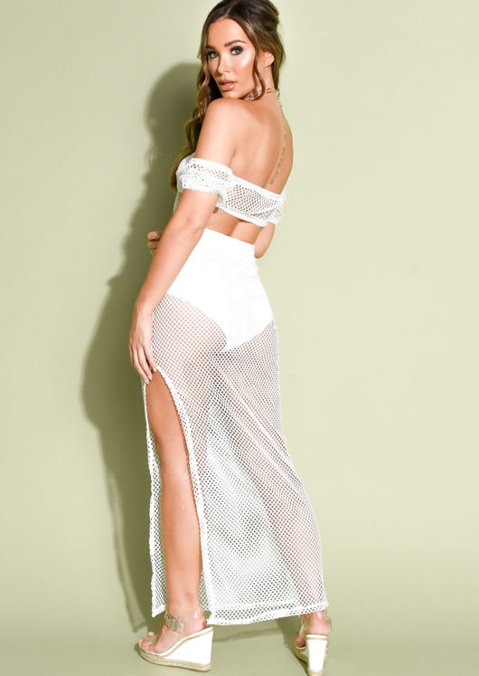 Knit Mesh Top And Maxi Split Skirt Co Ord Set White