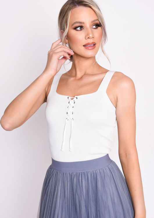 Knit Ribbed Square Neck Lace Up Front Vest Top White