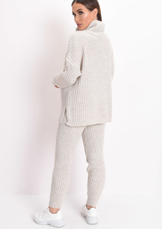 Knit Roll Neck Loungewear Co ord Set Beige