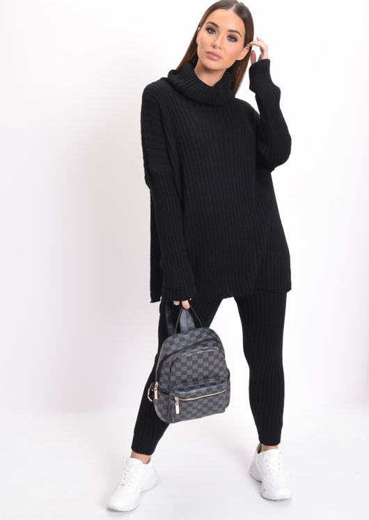 Knit Roll Neck Loungewear Co ord Set Black