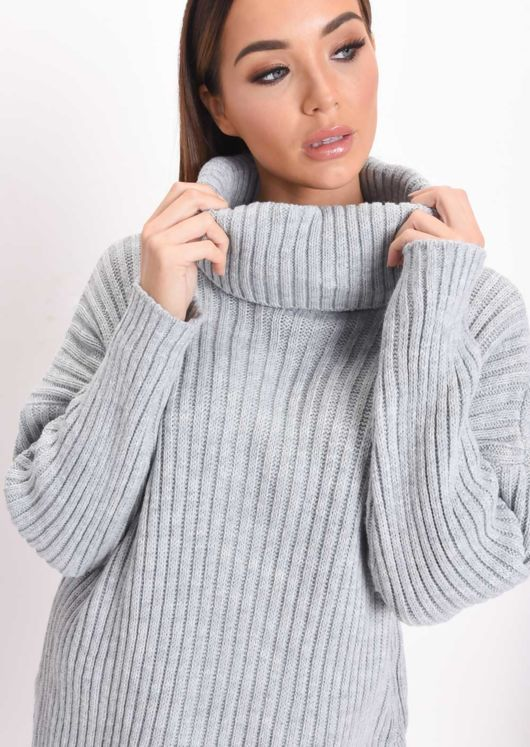Knit Roll Neck Loungewear Co ord Set Grey