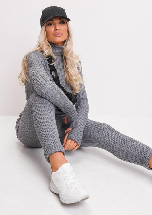 Knit Roll Neck Loungewear Co ord Set Grey