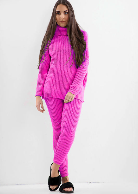 Knit Roll Neck Loungewear Co ord Set Neon Pink