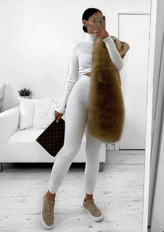 Knit Roll Neck Loungewear Co ord Set White