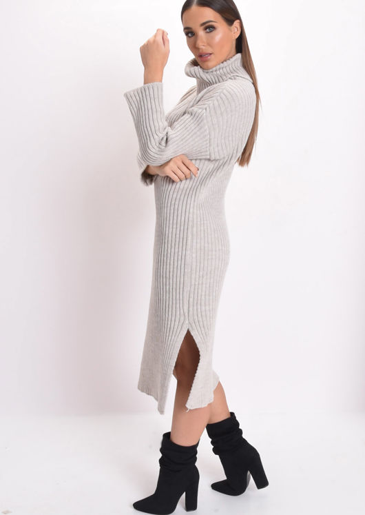 Knit Roll Neck Midi Dress Beige