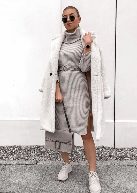 Knit Roll Neck Midi Jumper Dress Beige