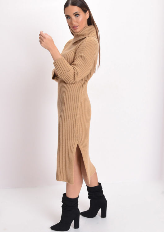 Knit Roll Neck Midi Dress Camel Brown