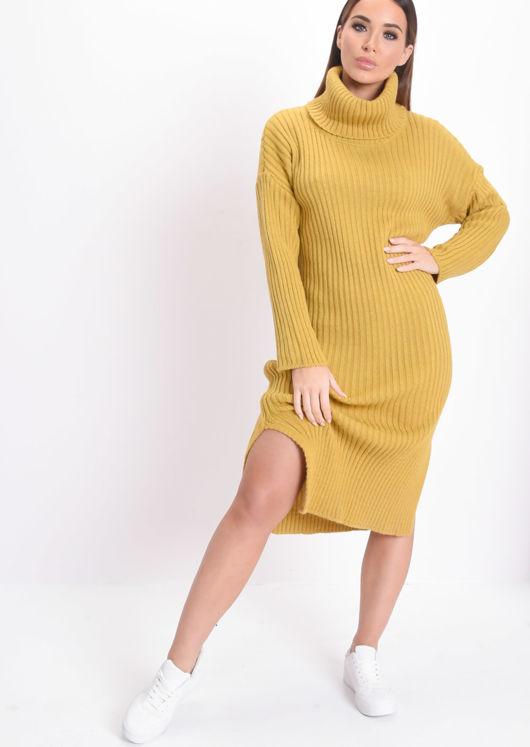 Knit Roll Neck Kinitted Side Split Midi Dress Mustard Yellow