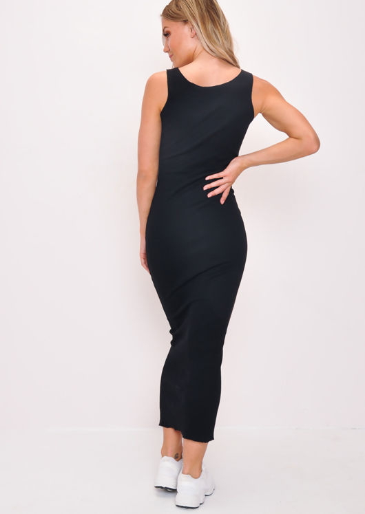Knitted Button Front Maxi Dress Black