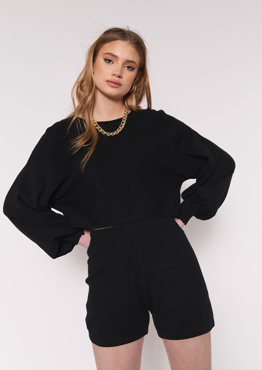 Knitted Crop Top and Shorts Loungewear Co Ord Set Black