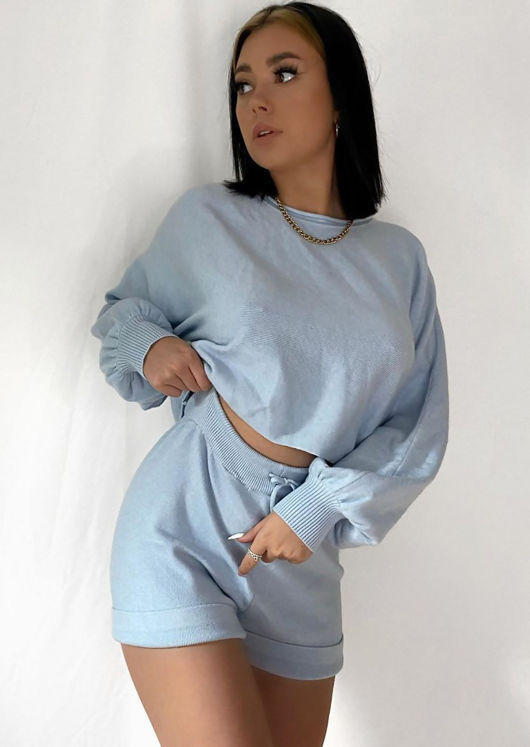 Knitted Crop Top and Shorts Co Ord Loungewear Set Blue