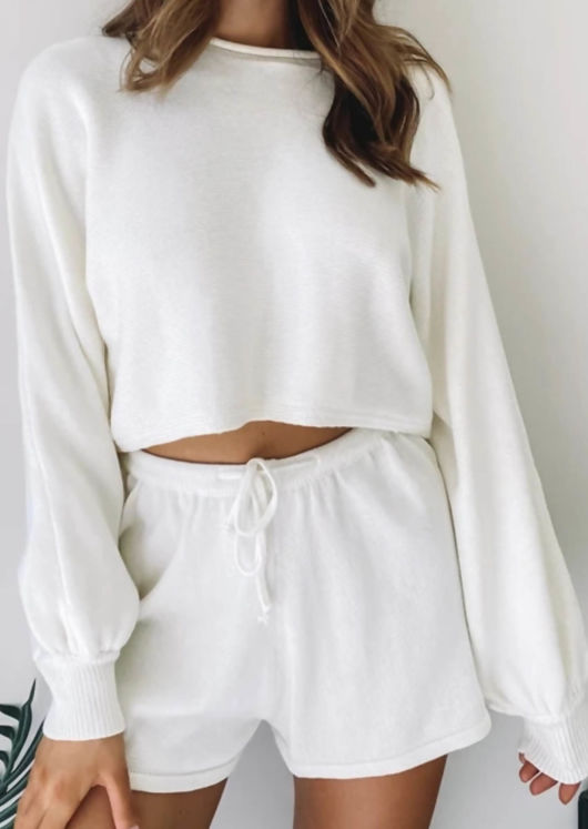 Knitted Crop Top and Shorts Co Ord Set White