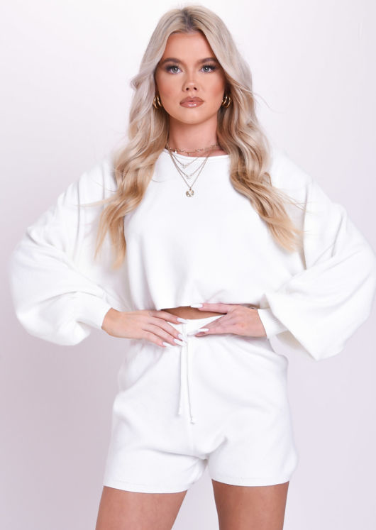 Knitted Crop Top and Shorts Co Ord Loungewear Set White