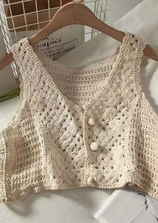 Knitted Cropped Crocheted Front Button Down Vest Top Beige