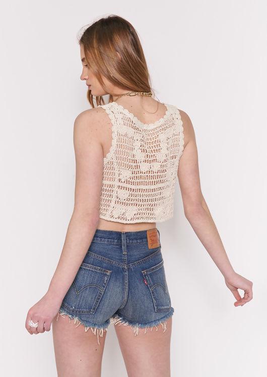Crop Crochet Front Button Down Vest Top Beige