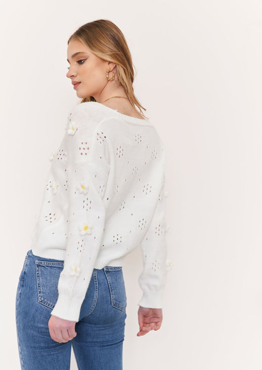 Knitted Flower Embroidered Long Sleeve Cardigan Top White