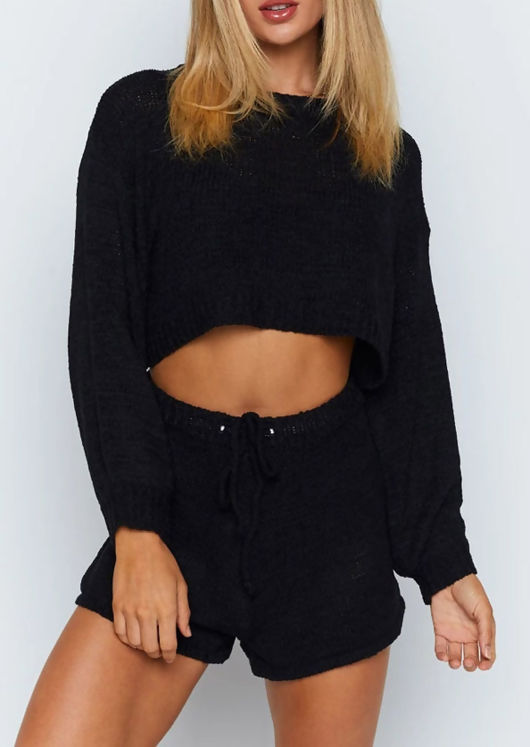 Knitted Long Sleeve Oversized Crop Top Shorts Loungewear Co Ord Black
