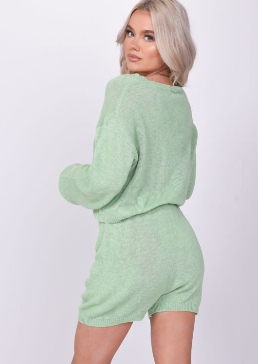 Knitted Long Sleeve Oversized Crop Top Shorts Loungewear Co Ord Green