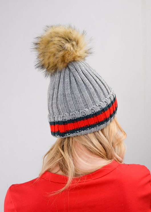 Knitted Pom Pom Green Red Stripe Beanie Hat Grey