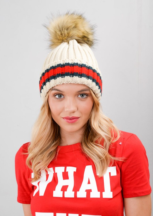Knitted Faux Fur Pom Pom Red Green Stripe Beanie Hat Beige