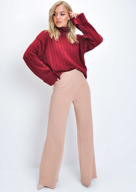 Cropped Knitted Turtleneck Jumper Wine Red