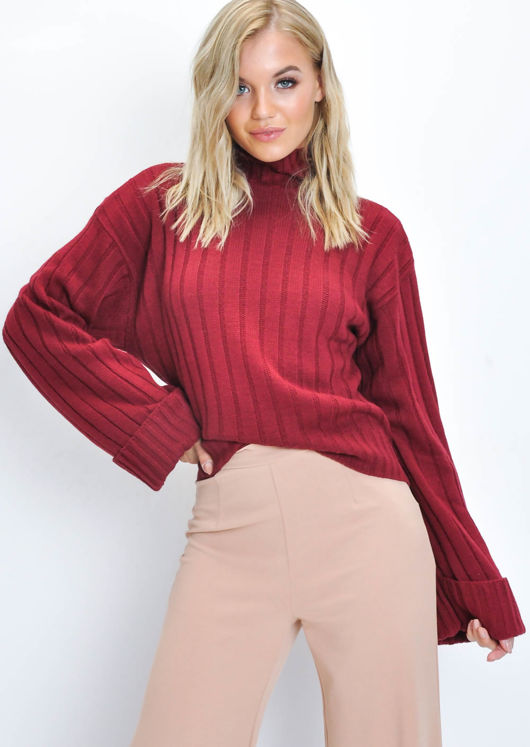 Knitted Turtleneck Jumper Wine Red