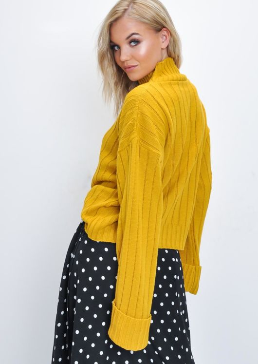 Cropped Knitted Turtleneck Jumper Mustard Yellow