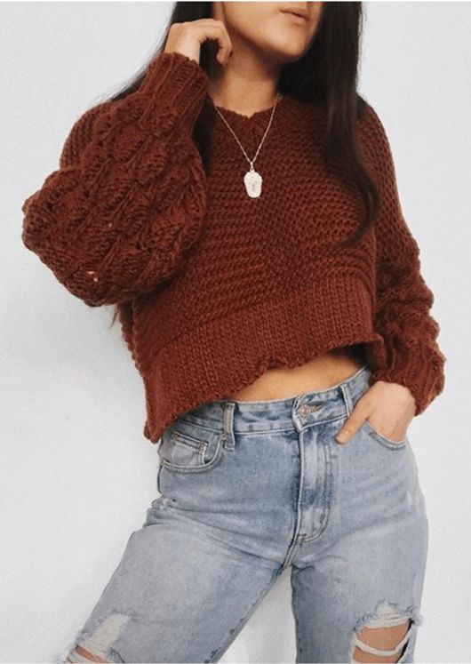 Chunky Knitted V Neck Crop Jumper Brown