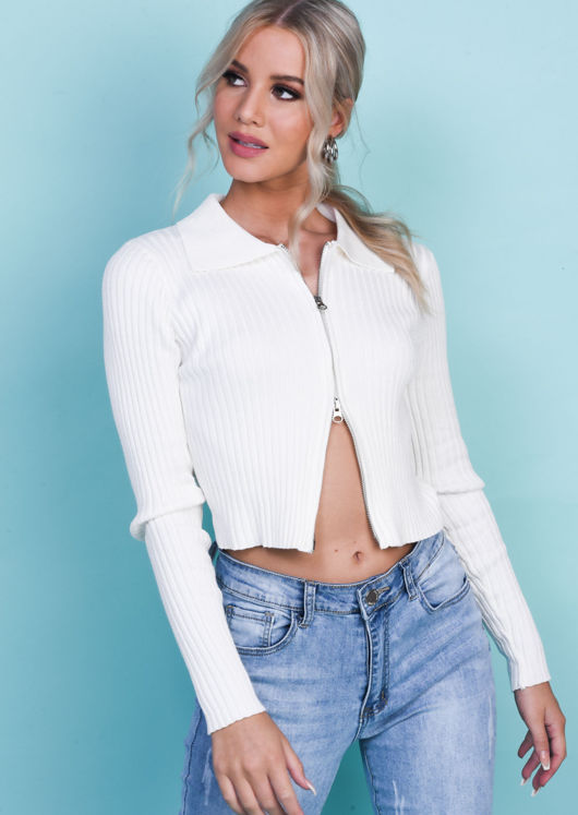 Knitted Zip Front Ribbed Chunky Collared Cardigan Top White