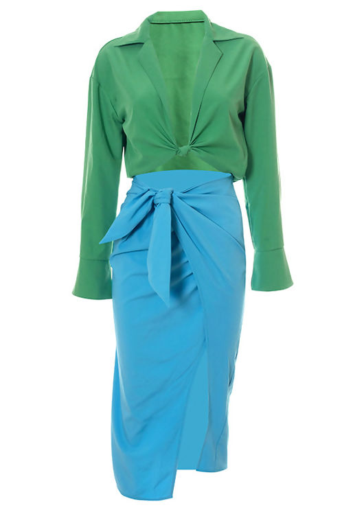 Knot Front Crop Shirt Top And High Waist Wrap Over Midi Skirt Co-Ord Set Multi