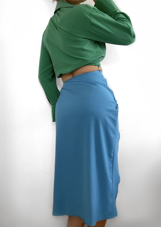 Knot Front Plunge Crop Shirt Top And Wrap Over Side Split Midi Skirt Contrast Co-Ord Set Multi