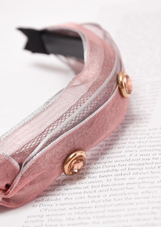 Knot Front Jewel Detail Headband Pink