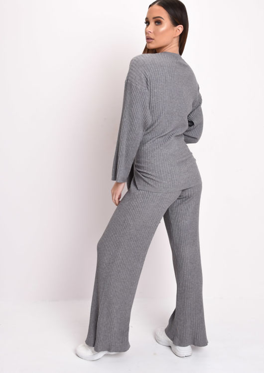Knot Front Ribbed Knit Loungewear Set Grey