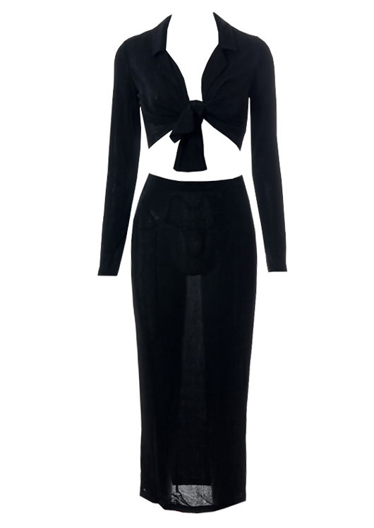 Slinky Knotted Front Collared Crop Top And Waistbanded Maxi Skirt Co-Ord Set Black