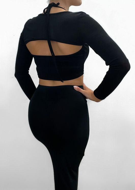 Slinky Halterneck Crop Top And Long Sleeve Shrug Two Piece Set Black