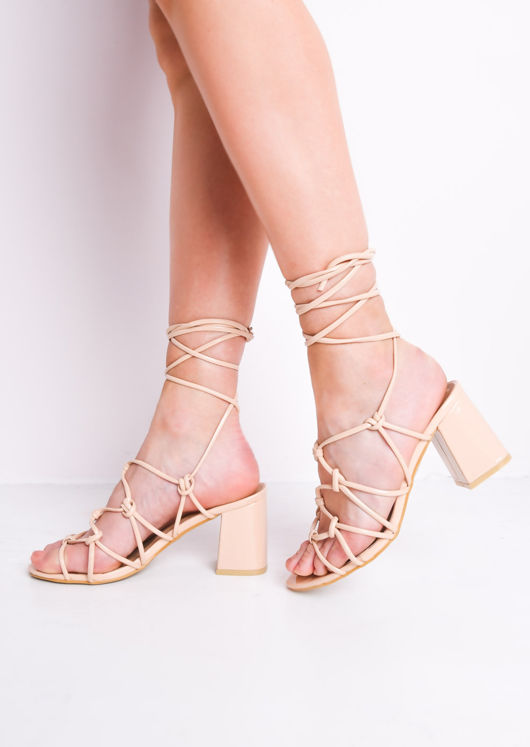 758a9c4aef2d Knotted Strappy Block Heel Sandals Cream | Lily Lulu