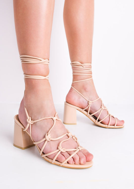 5d912bb9a88 Knotted Strappy Block Heel Lace Up Sandals Cream