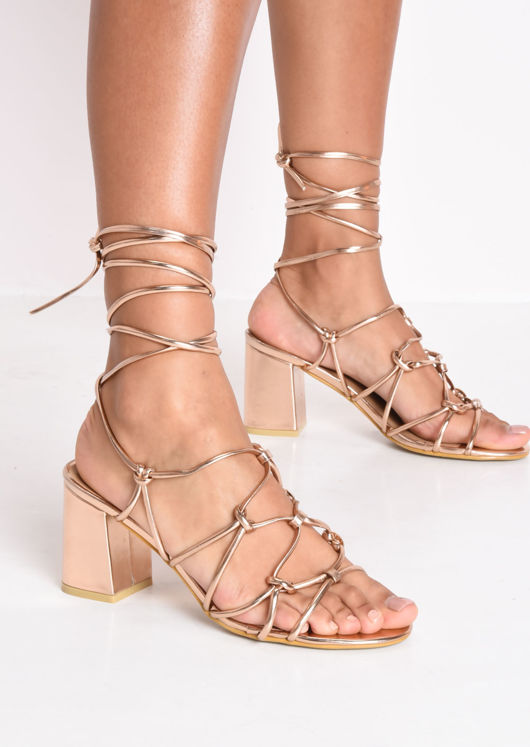 70b52f97d81 Knotted Strappy Block Heel Sandals Rose Gold