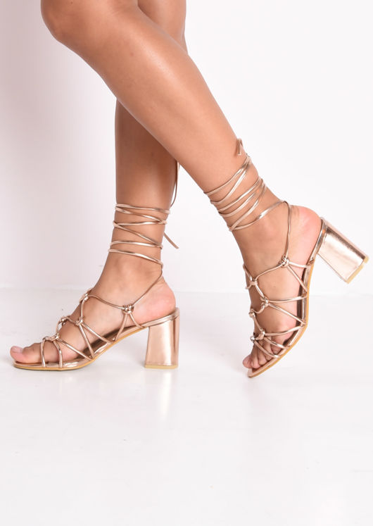 Knotted Strappy Block Heel Lace Up Sandals Rose Gold