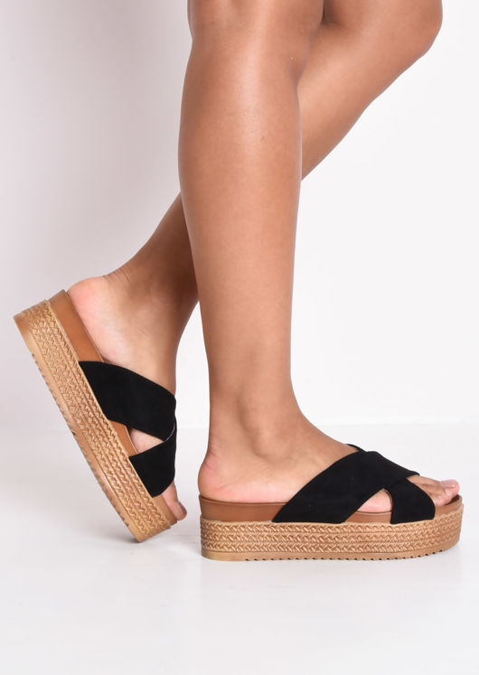 a536f7308e95 Braided Espadrille Look Cross Over Sliders Black
