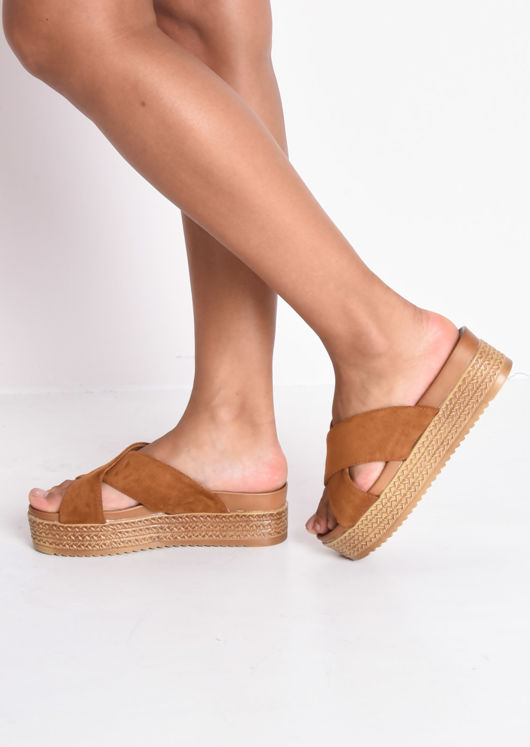 Espadrille Look Cross Over Flatfrom Sliders Camel Brown